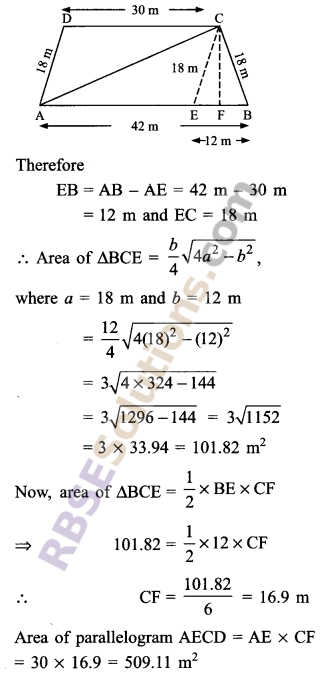 RBSE Solutions for Class 9 Maths Chapter 11 Area of Plane Figures Ex 11.3