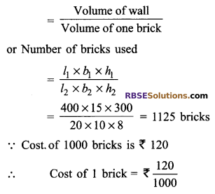 RBSE Solutions for Class 9 Maths Chapter 12 Surface Area and Volume of Cube and Cuboid Ex 12.2