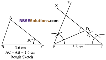 RBSE Solutions for Class 9 Maths Chapter 8 Construction of Triangles Additional Questions