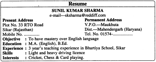 RBSE Class 11 English Letter Writing Application for a Job 1