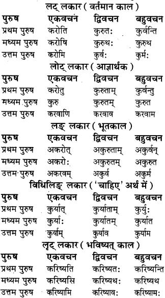 RBSE Class 8 Sanskrit व्याकरण धातु-रूपाणि - 16