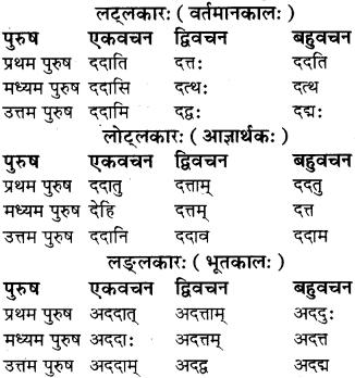RBSE Class 8 Sanskrit व्याकरण धातु-रूपाणि - 5
