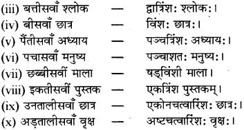 RBSE Class 8 Sanskrit व्याकरण संख्यावाचका शब्दा 13