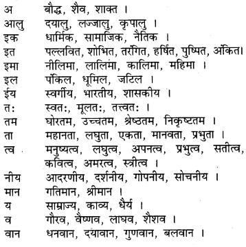 RBSE Class 9 Hindi व्याकरण प्रत्यय 5