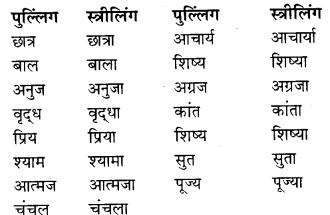 RBSE Class 9 Hindi व्याकरण लिंग 1