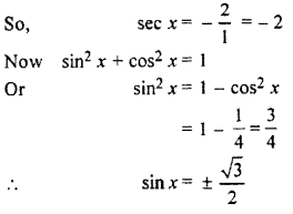 RBSE Solutions for Class 11 Maths Chapter 3 Trigonometric FunctionsEx 3.2
