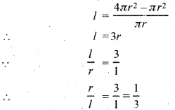 प्रश्न 10. सिद्ध कीजिए कि दिए हुए पृष्ठ तथा महत्तम आयतन वाले लम्बवृत्तीय शंकु का अर्द्धशीर्थ कोण \({ sin }^{ -1 }\left( \frac { 1 }{ 3 } \right) \) होता है। हल : माना शंकु की विर्य ऊँचाई = l ऊँचाई = h त्रिज्या = r सम्पूर्ण पृष्ठ = S आयतन = V तथा अर्द्धशीर्ष कोण = α शंकु का सम्पूर्ण पृष्ठ = πr² + πrl स्पष्ट है कि दिये हुए S के लिए जब V उध्विष्ठ तथा निम्निष्ट होगा तभी V² भी उच्चिष्ठ तथा निम्निष्ठ होगा। माना V² = Z Z का मान उच्चिष्ठ या निम्निष्ठ होगा, जब ∵ इस स्थिति में Z उच्चिष्ट है। समीकरण (i) में S = 4πr² रखने पर यदि α अर्द्धशीर्ष कोण है, तब अत: जब शंकु का अर्द्धशीर्थ कोण \({ sin }^{ -1 }\left( \frac { 1 }{ 3 } \right) \) है तो आयतन महत्तम है।
