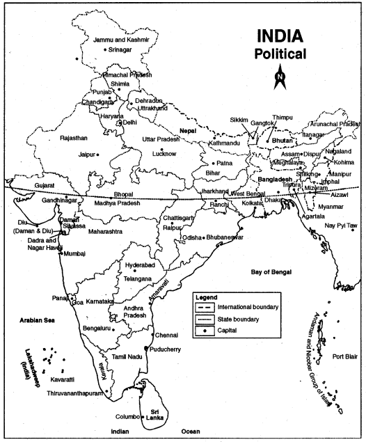 RBSE Solutions for Class 12 Political Science Map Work - 1