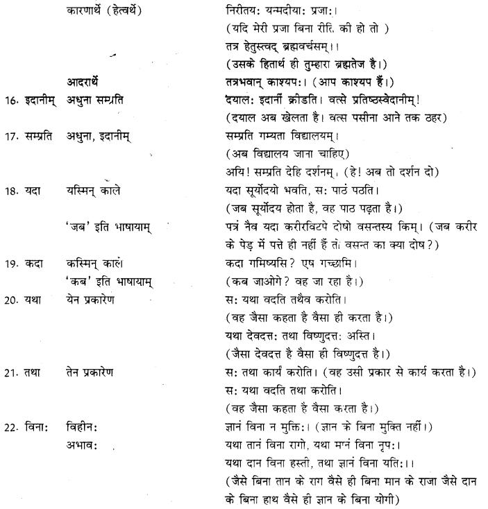 RBSE Class 10 Sanskrit व्याकरणम् अव्ययम् image 4