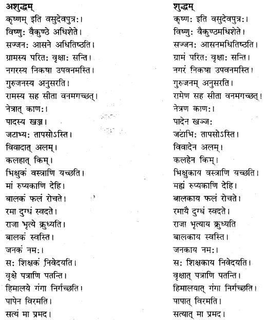 RBSE Class 10 Sanskrit व्याकरणम् अशुद्धि-संशोधनम्