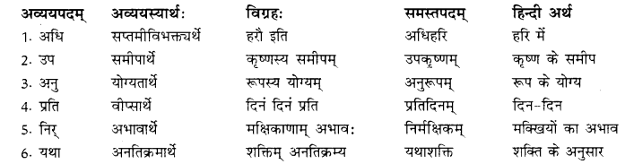 RBSE Class 10 Sanskrit व्याकरणम् समासः