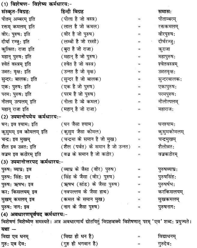 RBSE Class 10 Sanskrit व्याकरणम् समासः image 10 a