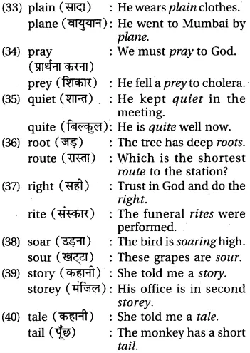 RBSE Class 6 English Vocabulary Homophones image 7
