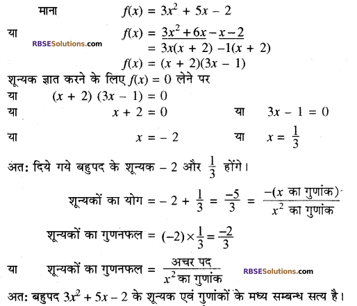 RBSE Solutions for Class 10 Maths Chapter 3 बहुपद Additional Questions 45