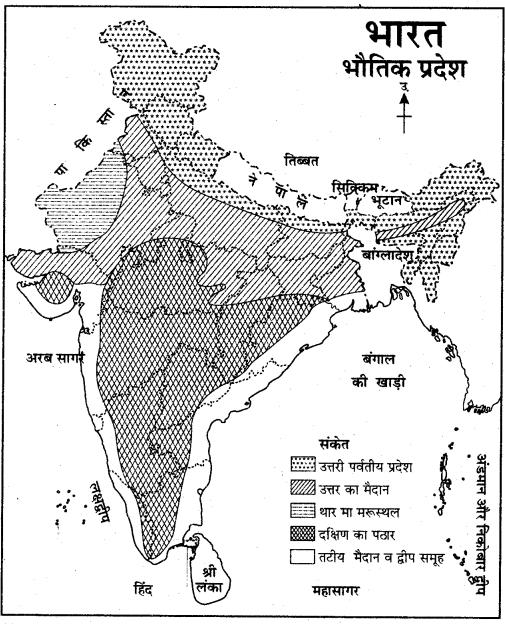 RBSE Solutions for Class 11 Indian Geography Chapter 4 भारत संरचना, उच्चावच एवं स्थलाकृतिक प्रदेश 1
