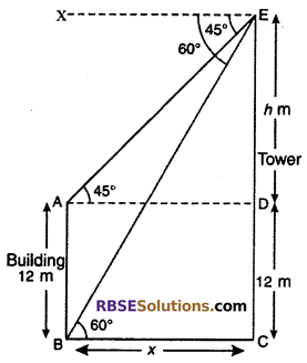 RBSE Solutions for Class 10 Maths Chapter 8 Height and Distance Miscellaneous Exercise 36