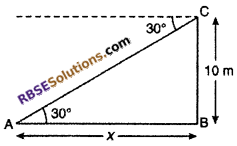 RBSE Solutions for Class 10 Maths Chapter 8 Height and Distance Miscellaneous Exercise 4