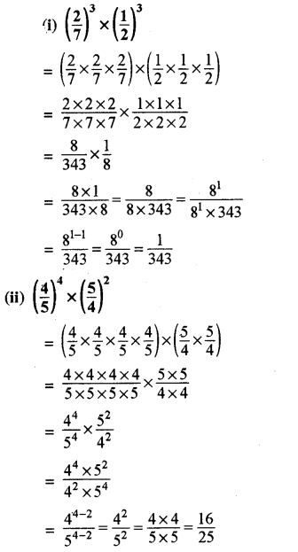 RBSE Solutions for Class 8 Maths Chapter 3 घात एवं घातांक Ex 3.1 Q1a