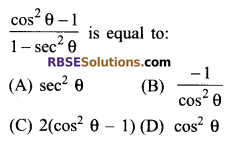 RBSE Solutions for Class 9 Maths Chapter 14 Trigonometric Ratios of Acute Angles Additional Questions - 3