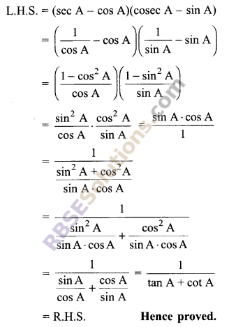 RBSE Solutions for Class 9 Maths Chapter 14 Trigonometric Ratios of Acute Angles Additional Questions - 30