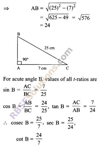 RBSE Solutions for Class 9 Maths Chapter 14 Trigonometric Ratios of Acute Angles Ex 14.1 - 1
