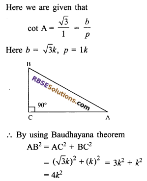 RBSE Solutions for Class 9 Maths Chapter 14 Trigonometric Ratios of Acute Angles Ex 14.1 - 13