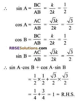 RBSE Solutions for Class 9 Maths Chapter 14 Trigonometric Ratios of Acute Angles Miscellaneous Exercise - 19